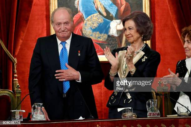 Former King of Spain, Juan Carlos I of Spain and Sofia of Spain attend a ceremony to celebrate Juan Carlos I of Spain 80th birthday, which was held...