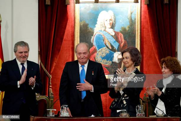 Former King of Spain Juan Carlos I of Spain and Sofia of Spain with the Minister of Education and Government spokesperson Inigo Méndez de Vigo and...