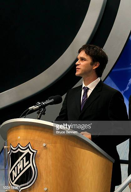 Former LA Kings player Luc Robitaille speaks during the 2010 NHL Entry Draft at Staples Center on June 25 2010 in Los Angeles California