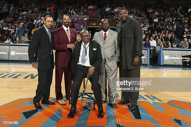 Former Knicks legends John Starks Clyde Frazier Cal Ramsey Pearl Washington and Patrick Ewing during a halftime ceremony at the New York Knicks...