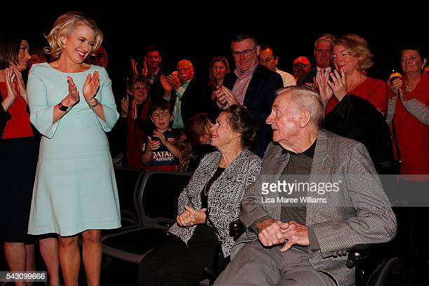 Former Labor leader Bill Hayden and wife Dallas Hayden receive a standing ovation during the Queensland Labor Campaign Launch at the Brisbane...