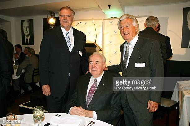 Former Labor Prime Minister Gough Whitlam centre with current federal Labor leader Kim Beazley left and former Prime Minister Bob Hawke at Whitlam's...