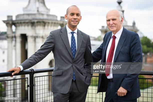 Former Labour and Change UK MP Chuka Umunna stands with leader of the Liberal Democrats Vince Cable after it was announced that he is to join the...