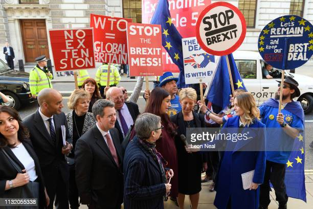 Former Labour and Conservative MPs Heidi Allen Chuka Umunna Anna Soubry Chris Leslie Mike Gapes Ann Coffey Luciana Berger and Angela Smith of the...