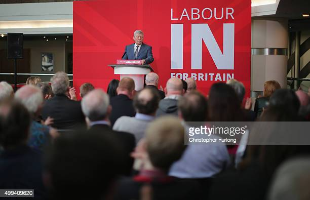 Former Labour Home Secretary Alan Johnson launches the 'Labour In For Britain' Campaign at the International Convention Centre on December 1 2015 in...