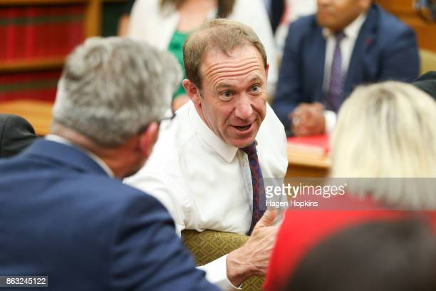Former Labour leader Andrew Little speaks to fellow MPs during a caucus meeting at Parliament on October 20 2017 in Wellington New Zealand After...