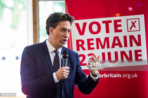 Former Labour Leader Ed Miliband speaks at The UK Centre for Carnival Arts on June 21 2016 in Luton England In his speech today Mr Miliband made the...
