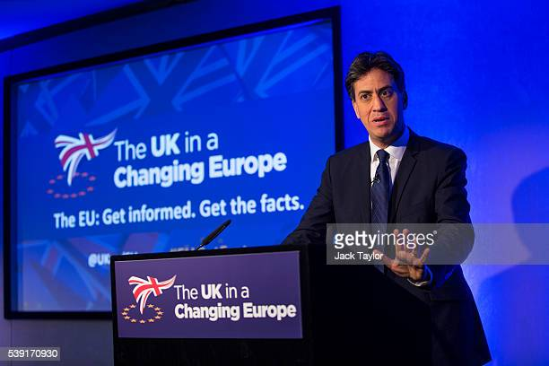 Former Labour Leader Ed Miliband speaks at 'The UK in a Changing Europe' conference at the Queen Elizabeth II Centre on June 10 2016 in London...