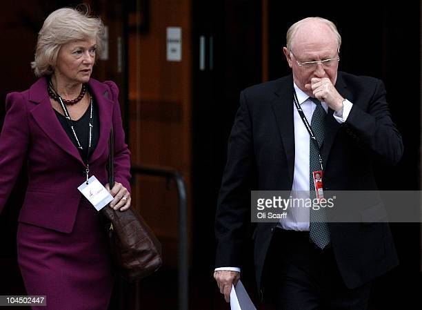 Former Labour leader Neil Kinnock and Baroness Glenys Kinnock arrive for the third day of the Labour party conference at Manchester Central on...