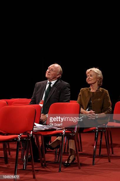 Former Labour leader Neil Kinnock and Baroness Glenys Kinnock listen to Helle ThorningSchmidt the leader of the Danish Social Democrats speech on the...
