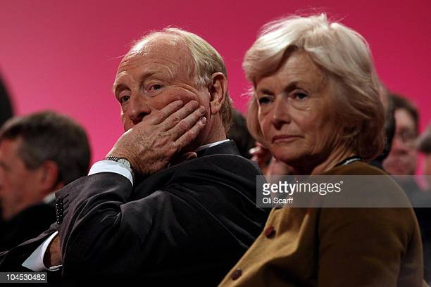 Former Labour leader Neil Kinnock and Baroness Glenys Kinnock listen to a question and answer session entitled 'Rebuilding for the Future' on the...