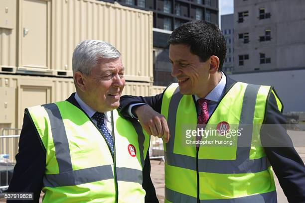 Former Labour minister David Miliband and Alan Johnson MP visit the new new HSBC bank site as they join the Remain Battle bus campaign for remain...