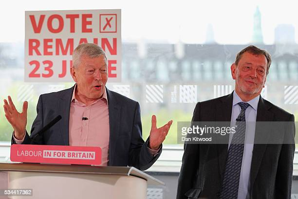 Former Labour MP Alan Johnson and Lord David Blunkett speak to members of the press during a press conference at the Royal Festival Hall on May 26...