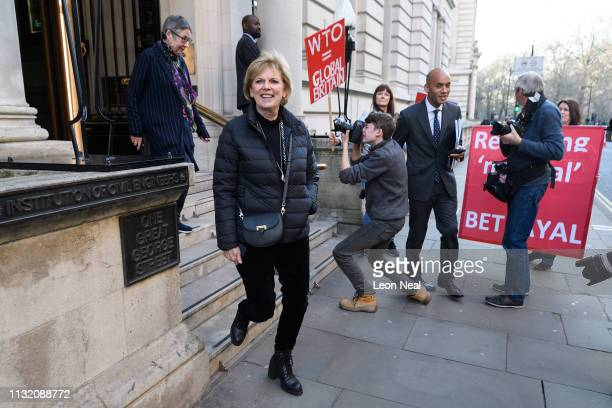Former Labour MP Ann Coffey Conservative MP Anna Soubry and former Labour MP Chuka Umunna leave the inaugural meeting at the Institute of Civil...