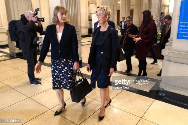 Former Labour MPs Joan Ryan and Angela Smith of the independent group of MPs arrive for their inaugural meeting at Institute of civil engineers on...