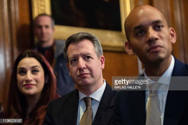 Former Labour Party and now members of The Independent Group of MPs Luciana Berger Chris Leslie and Chuka Umunna listen as they attend a press...