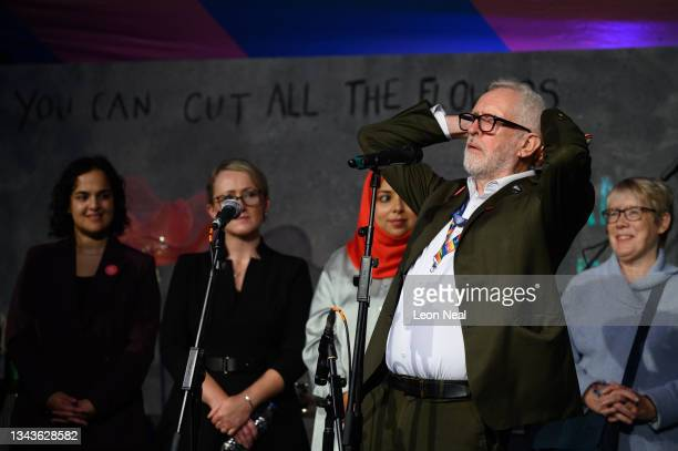 Former Labour Party leader Jeremy Corbyn addresses an audience at a fringe event for political festival The World Transformed, on the fourth day of...