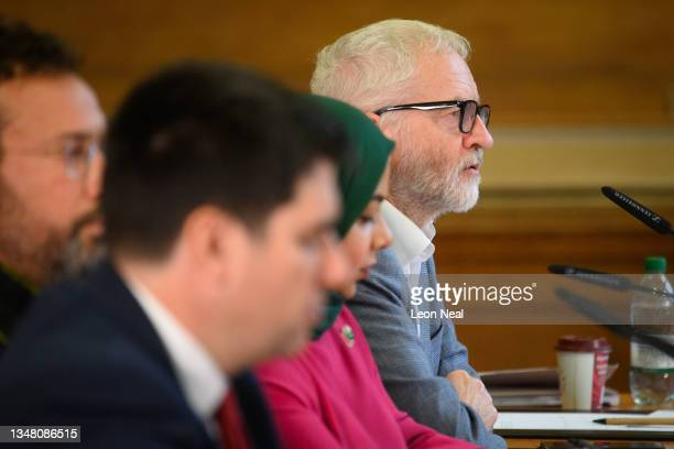 """Former Labour Party leader Jeremy Corbyn addresses the other speakers and audience during """"The Belmarsh Tribunal"""", which is calling for the release..."""