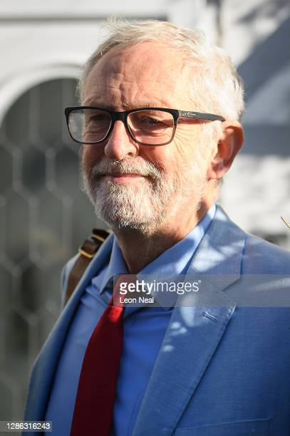 Former Labour party leader Jeremy Corbyn leaves his home on November 18, 2020 in London, England. Corbyn, former Labour Leader and MP for Islington...