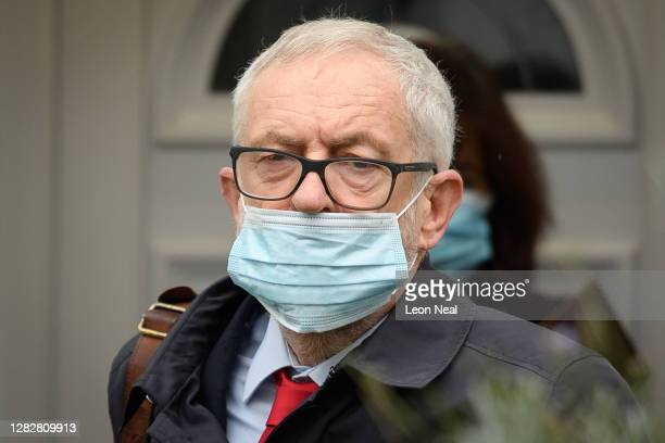 Former Labour Party leader Jeremy Corbyn leaves his home on October 29, 2020 in London, England. The long-awaited report from the Equality and Human...