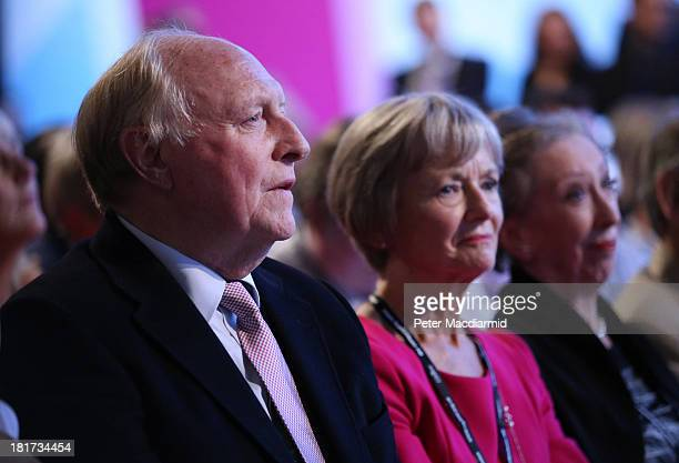 Former Labour Party Leader Neil Kinnock and his wife Glenys Kinnock sit with Margaret Beckett as they listen as party leader Ed Miliband gives his...