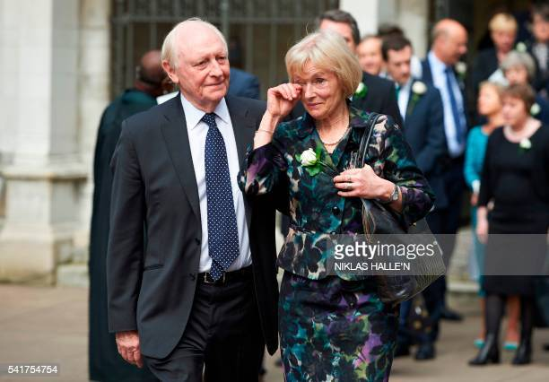 Former labour Party leader Neil Kinnock and his wife Glenys leave St Margarets Church after attending a service to commemorate the murdered Labour...