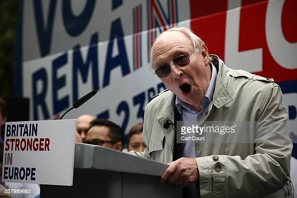 Former Labour Party leader Neil Kinnock speaks during a rally to support the 'Stronger In' campaign's voter registration drive across the country on...