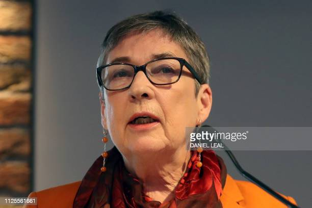 Former Labour party MP Ann Coffey speaks during a press conference in London on February 18 where she and colleagues announced their resignation from...