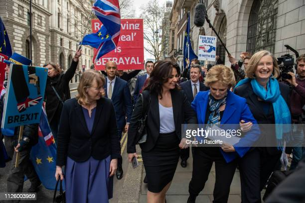 Former Labour Party MP Joan Ryan walks with former Conservative MP's Heidi Allen Anna Soubry and Sarah Wollaston as they arrive to a press conference...