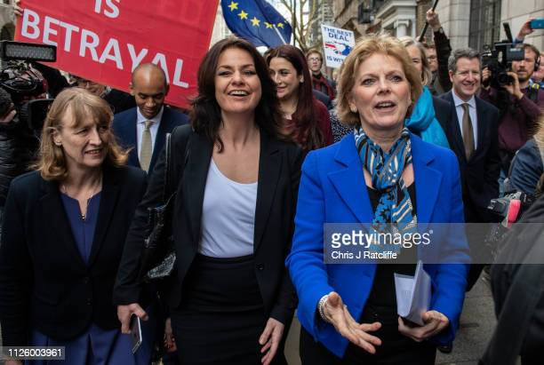 Former Labour Party MP Joan Ryan walks with former Conservative MP's Heidi Allen and Anna Soubry as they arrive to a press conference to make a...