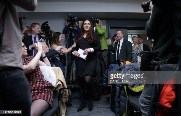 Former Labour party MP Luciana Berger arrives with MPs Chris Leslie Angela Smith and Gavin Shuker to speak at a press conference in London on...
