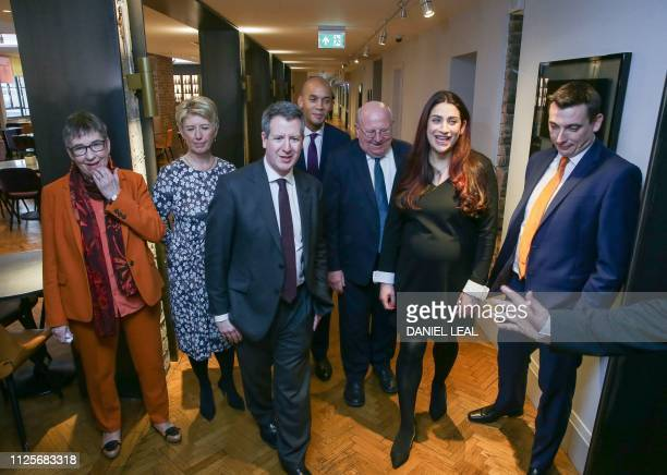 Former Labour party MPs Ann Coffey Angela Smith Chris Leslie Chuka Umunna Mike Gapes Luciana Berger and Gavin Shuker pose for a photograph following...