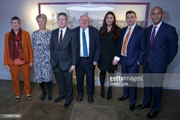 Former Labour party MPs Ann Coffey Angela Smith Chris Leslie Mike Gapes Luciana Berger Gavin Shuker and Chuka Umunna pose for a photograph following...