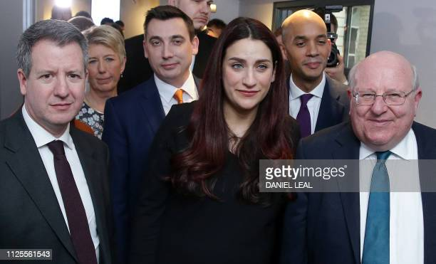 Former Labour party MPs Chris Leslie Angela Smith Gavin Shuker Luciana Berger Chuka Umunna and Mike Gapes pose for a photograph following a press...