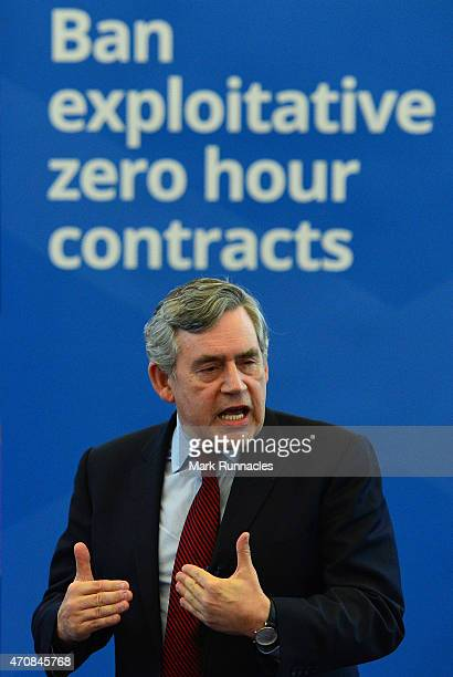 Former Labour Party Prime Minister Gordon Brown makes a keynote election speech at the Old Kirk on April 23 2015 in Kirkcaldy Scotland The election...