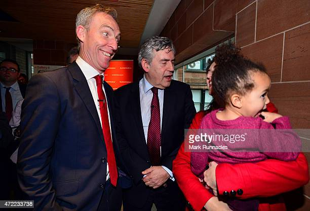 Former Labour Prime Minister Gordon Brown and Scottish Labour Leader Jim Murphy meet supporters after asking voters to choose between a fair economy...