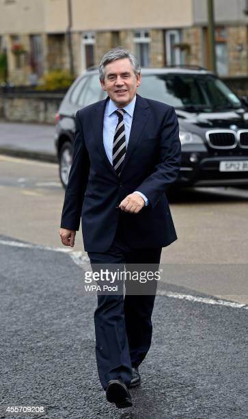 Former Labour Prime Minister Gordon Brown arrives for a visit to Kelty Primary school following the No vote success in the Scottish Referendum on...