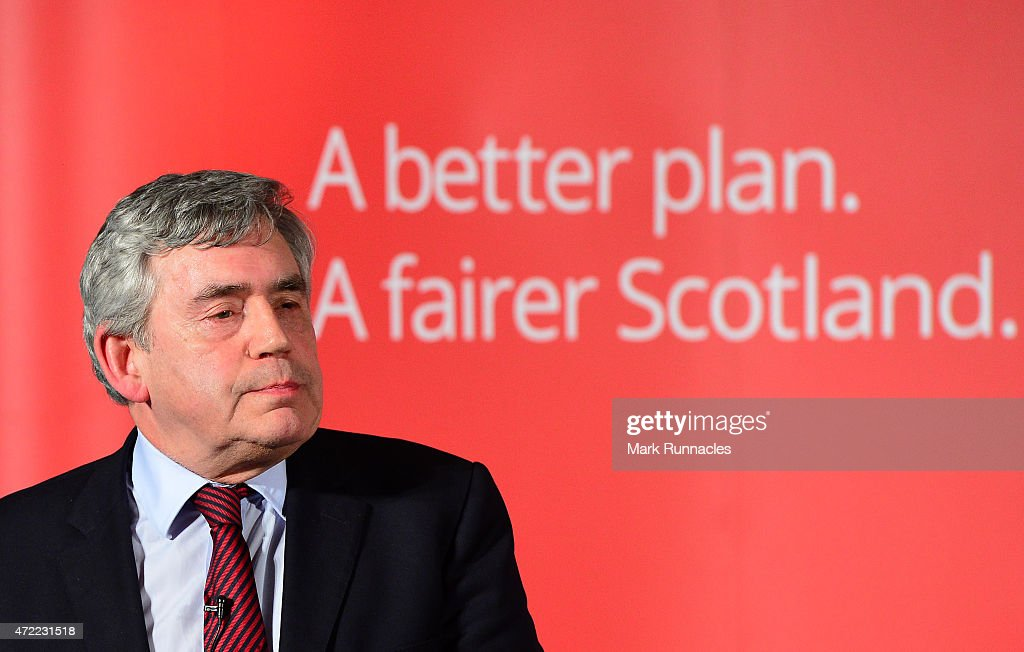 Former Labour Prime Minister Gordon Brown gives a rousing speech as Jim Murphy asks voters to choose between a fair economy or a second referendum at a rally at the Light House on May 05, 2015 in Glasgow, Scotland. Britain goes to the polls in a General Election on May 7.
