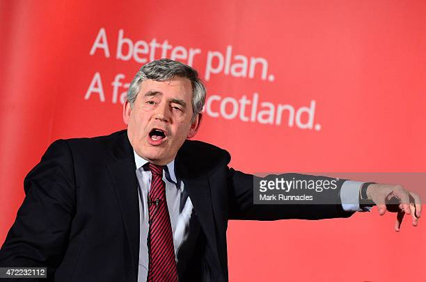 Former Labour Prime Minister Gordon Brown gives a rousing speech in support of Jim Murphy the leader of the Scottish Labour Party who asked voters to...