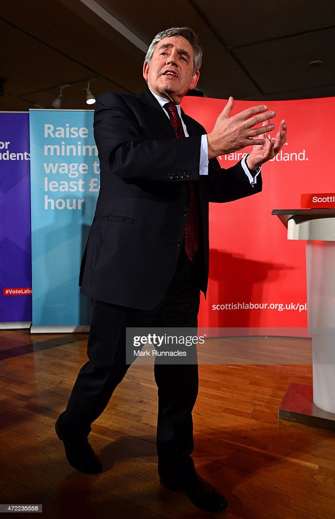 Former Labour Prime Minister Gordon Brown gives a rousing speech in support of Jim Murphy, the leader of the Scottish Labour Party, who asked voters to choose between a fair economy or a second referendum at a rally at the Light House on May 05, 2015 in Glasgow, Scotland. Britain goes to the polls in a General Election on May 7.