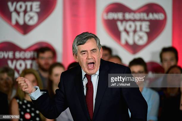 Former Labour Prime Minister Gordon Brown makes his case for a No vote to a rally on September 17 2014 in Glasgow ScotlandThe referendum debate has...