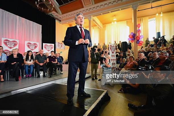 Former Labour Prime Minister Gordon Brown makes his case for a No vote to a rally on September 17 2014 in Glasgow Scotland The referendum debate has...