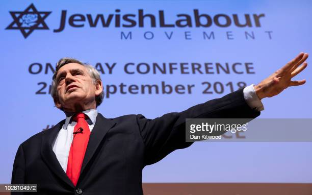 Former Labour Prime Minister Gordon Brown speaks during the 'Jewish Labour Movement Conference' on September 2 2018 in London England