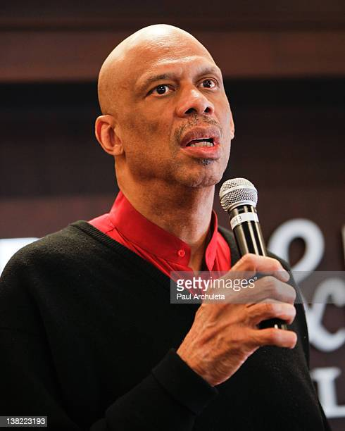 """Former LA Laker Kareem Abdul-Jabbar signs copies of his new book """"What Color Is My World?"""" at Barnes & Noble bookstore at The Grove on February 4,..."""