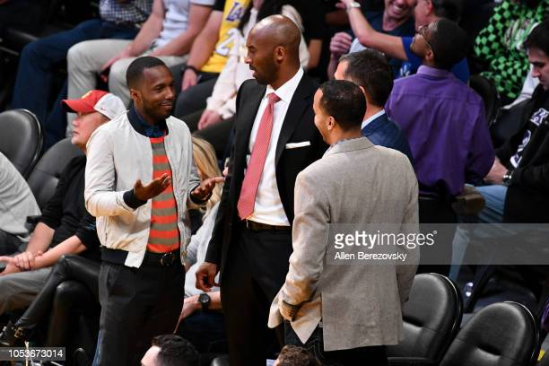Former Laker Kobe Bryant agent Rich Paul and Lakers GM Rob Pelinka attend a basketball game between the Los Angeles Lakers and the Denver Nuggets at...