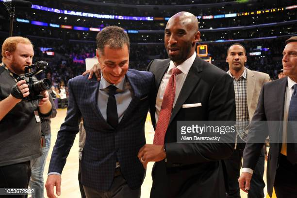 Former Laker Kobe Bryant and Lakers GM Rob Pelinka attend a basketball game between the Los Angeles Lakers and the Denver Nuggets at Staples Center...