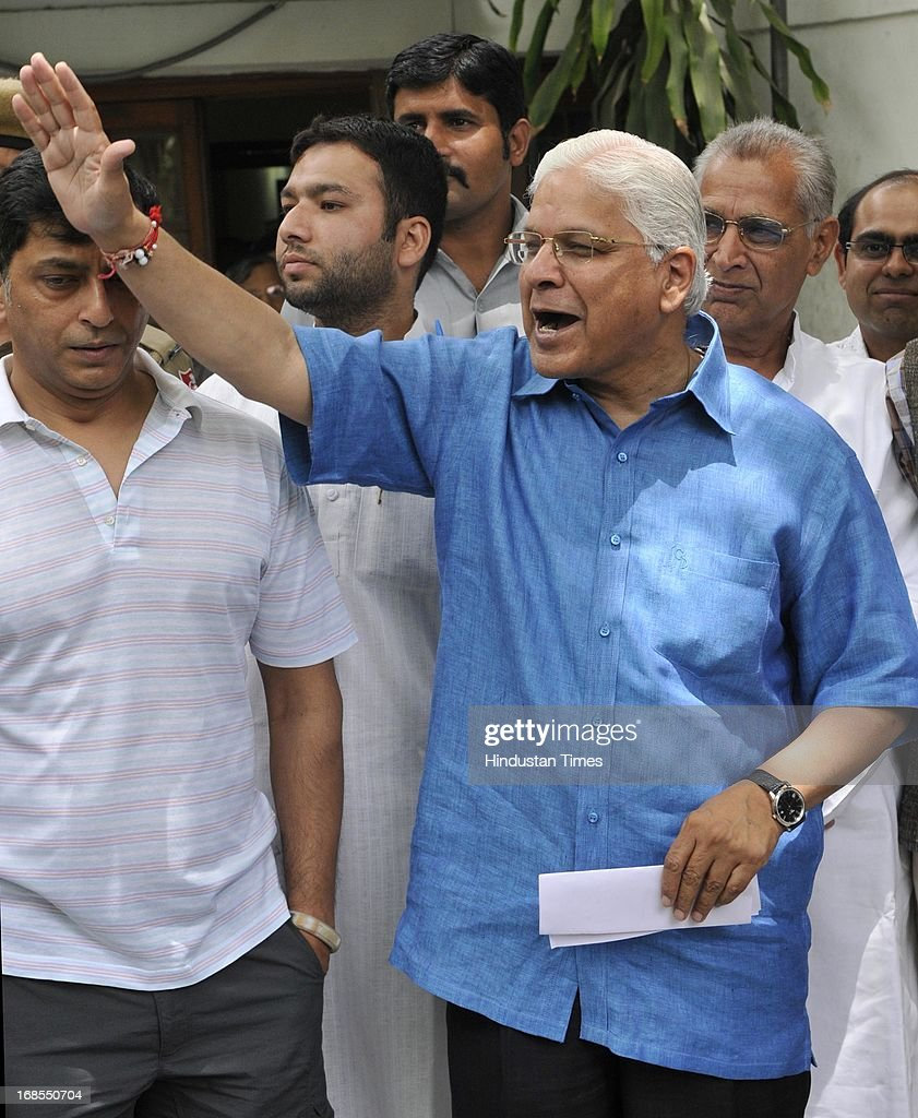 Former Law Minister Ashwani Kumar gestures during a press conference at his residence, a day after submitting his resignation on May 11, 2013 in New Delhi, India. Kumar resigned after getting into trouble for making deletions in a CBI report on its coal allocation investigations.