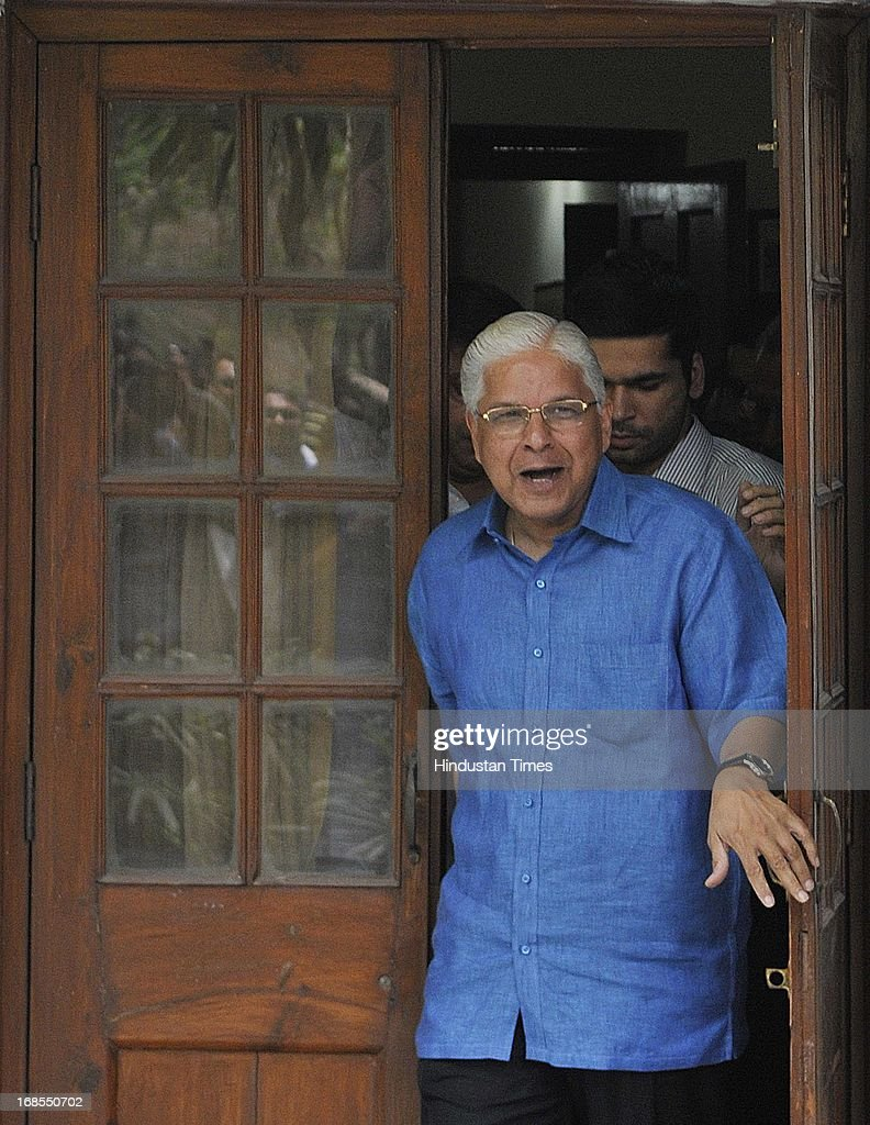Former Law Minister Ashwani Kumar steps out of his house to address a press conference, a day after submitting his resignation on May 11, 2013 in New Delhi, India. Kumar resigned after getting into trouble for making deletions in a CBI report on its coal allocation investigations meant for the Supreme Court.
