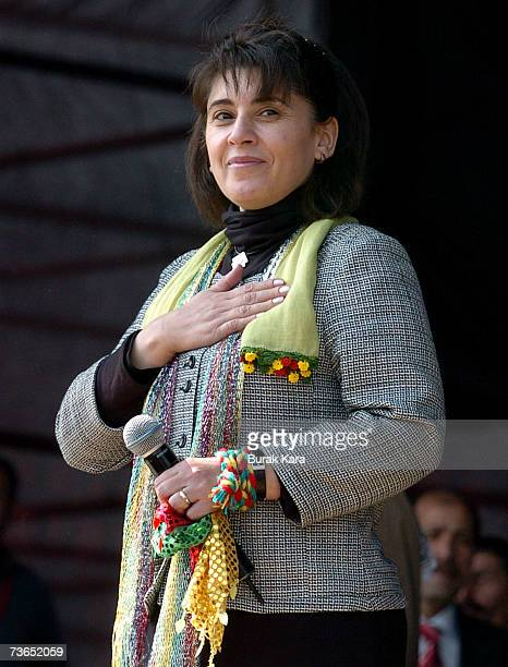Former lawmaker Leyla Zana makes a speech during the Newroz celebrations in southern Turkish city of Diyarbakir March 21 2007 in Diyarbakar Turkey...