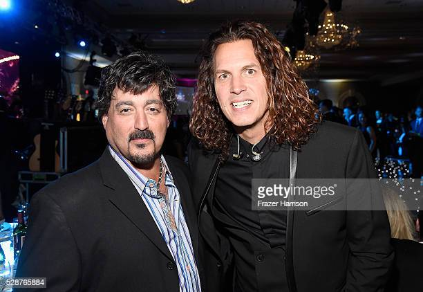 Former lead singer of Kansas John Elefante and lead singer of Louisville Crashers Mark Maxwell attend Unbridled Eve Gala during the 142nd Kentucky...
